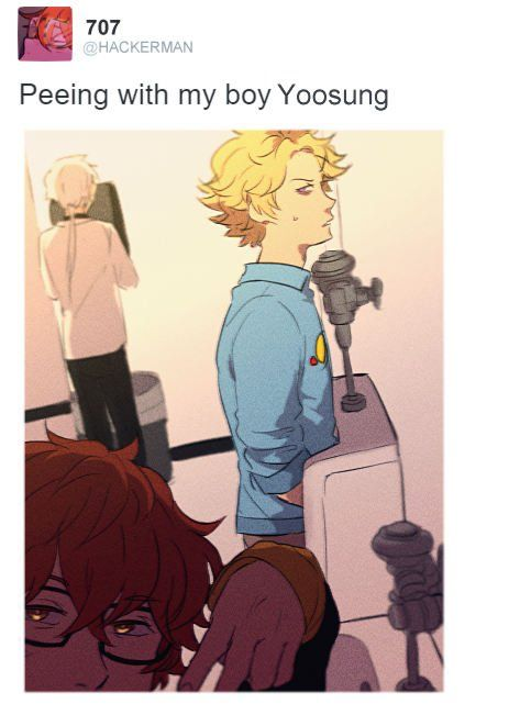 Ha oh my god!! LMAO!! >-< ||. Mystic Messenger||. Yoosung looks so irritated and Zen just back there drying his hands.