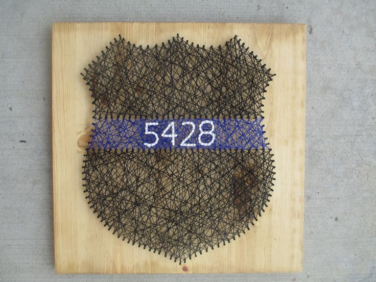 Wall Hanging, String Art Thin Blue Line, Police Officer Badge, Wall Decor by AJLyonsDesigns on Etsy