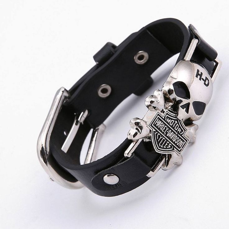 Steampunk Wide Leather Skull Harley Cuff Bracelet