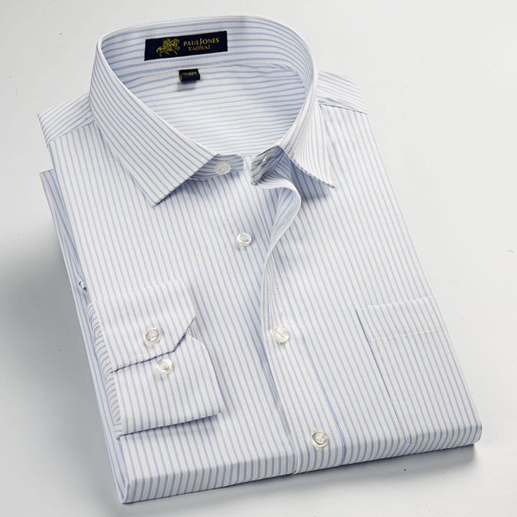 Striped Men Dress Shirt Formal Business Social Shirts Classic Design Plus Size Long Sleeve Non-Iron Shirts