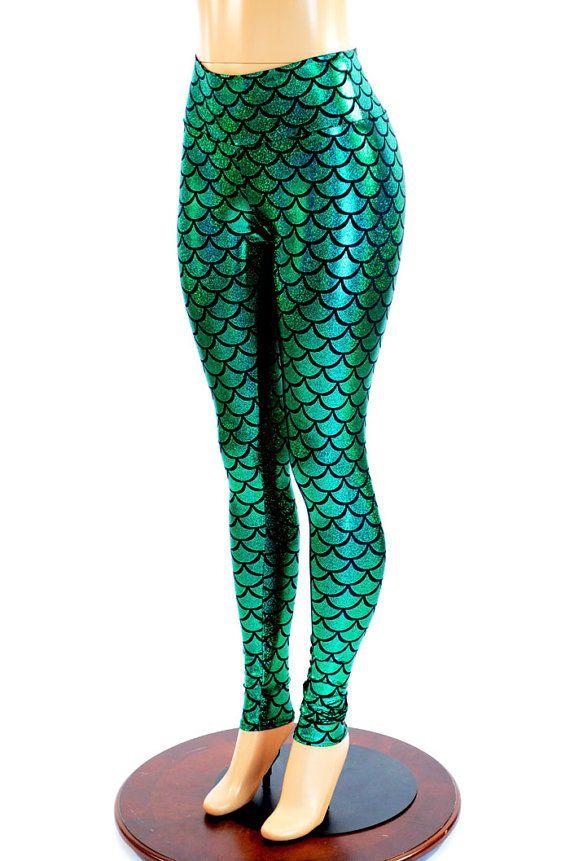 Emerald Green Dragon Scale High Waist Mermaid by CoquetryClothing