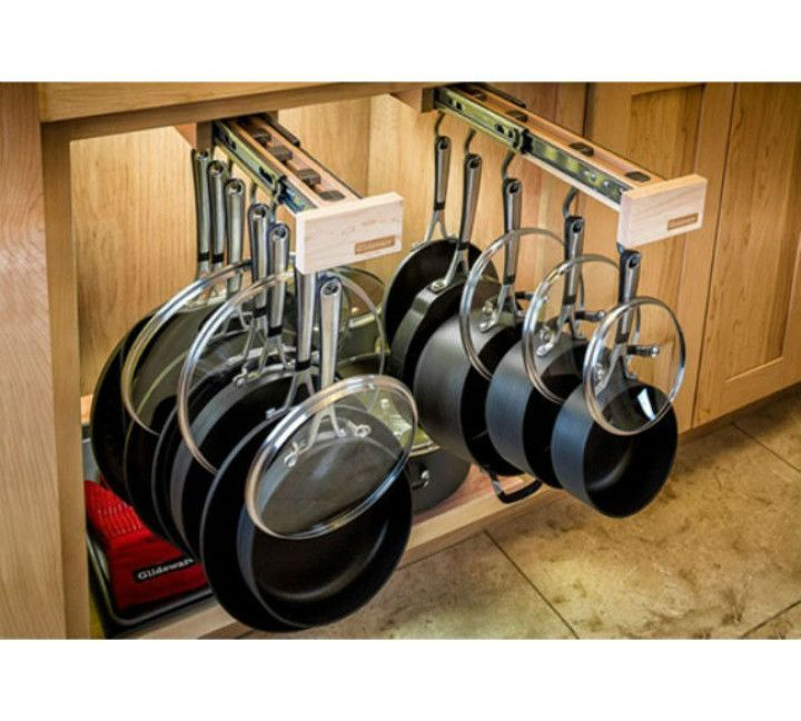 Kitchen Cabinet Organizers, Cabinet declutter, pan storage, cool stuff, gadget, gizmo