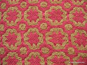 """Marlborough Weavers: """"Red and Gold Scarf"""" in Deflected Doubleweave, by Judy Bool"""