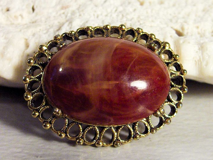 Red Agate Cabochon   Gold tone   Filigree Oval Brooch  / Pin   Art Glass Stone by GemstoneCowboy on Etsy