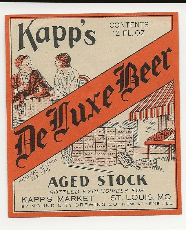 Mound City Brewing Kapp S De Luxe Beer Label Irtp New Athens Il St Louis Mo City Brew Beer Label Mound City