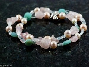 Halsband med vårpasteller, stenar och pärlor - Springtime with rose quartz, amazonite and pearls