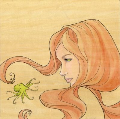 """""""The Octopus Mermaid 1"""" by Karen Hallion. My first reaction was to squeak, """"TINY OCTOPUS!"""" but I also really like how she uses lines in this..."""