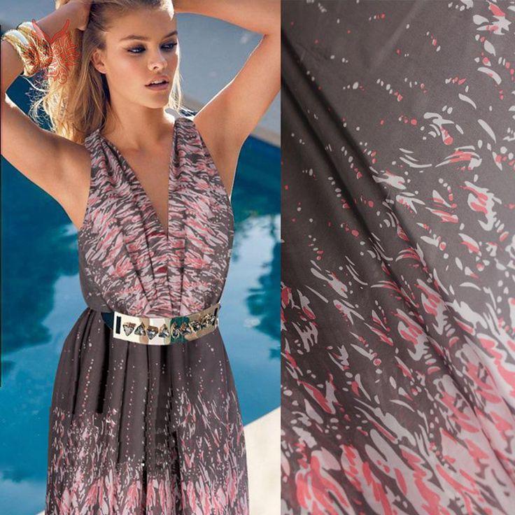 Дизайнер коричневый / розовый абстрактный принт pure100 % шелк шифоновая ткань для лето / весна платье, Рубашка SP2110