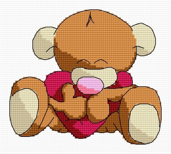 Hugging teddy (cuddly toy, for children, heart, plush toy)