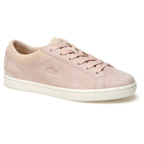 Lacoste Low-rise premium nubuck and suedette Straightset trainers (€130) ❤ liked on Polyvore featuring shoes, sneakers, nubuck shoes, tennis shoes, lacoste sneakers, lacoste trainers and tenny shoes