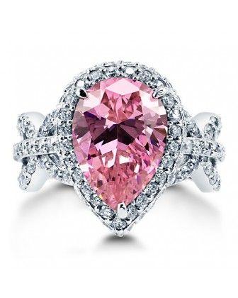 """Коктейльное кольцо """"Розовый Миндаль"""" с солитером огранки груша в оправе-гало с цирконами CZ из стерлингового серебра"""