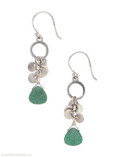 Sprightly green stones swirl with shimmery discs, making these Earrings hard to ignore. Howlite, Sterling Silver.