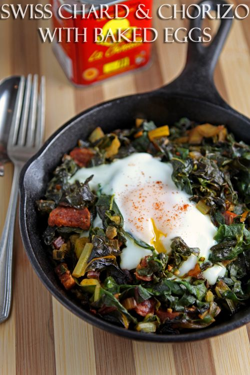 Swiss chard and chorizo with baked eggs - an easy one-pan dish that's naturally gluten-free and low-carb  |  cooksister.com #glutenfree #lowcarb #chard #eggs