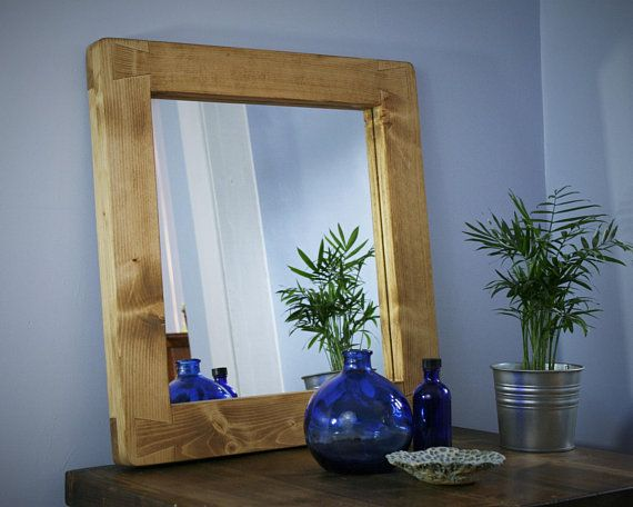 Wooden Wall Mirror Thick Natural Light Wood Frame Sustainable Wood Frame 50 X 52 Cm Custom Handmade Modern Rustic Style From Somerset Uk Mirror Wall Rustic Wooden Furniture Wooden Walls