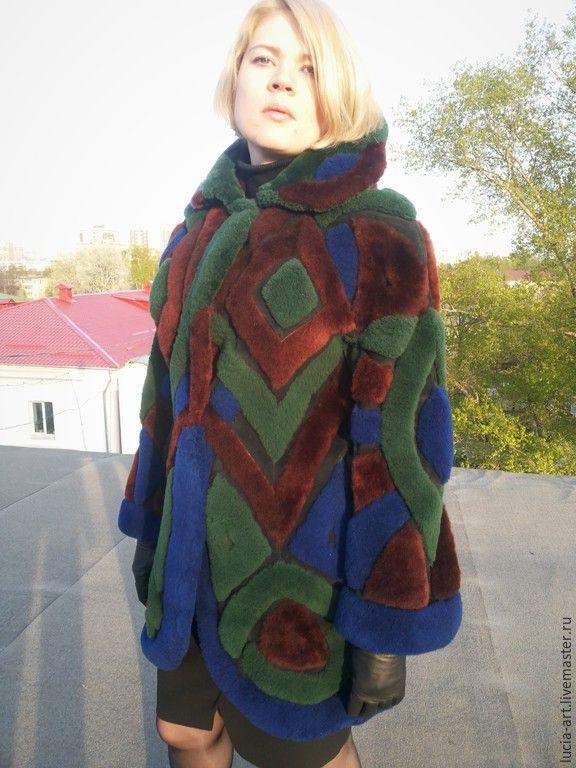 Купить Винтажный жакет из цветной овчины - разноцветный, абстрактный, винтаж, винтажный, шуба, меховой ковер