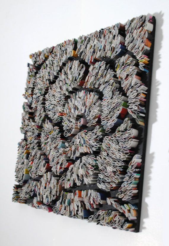 FLOWER- made with recycled magazines, white, black, grey, modern, home decor, interior design, delicate, unique, swirls, petals