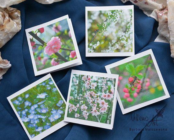 Notecard  Flower Set 001 by villemoart on Etsy
