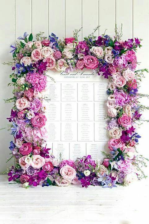 お花をふんだんに使った可憐すぎるシーティングチャート! ピンクのキュートな席次表一覧。結婚式の席次表まとめ。