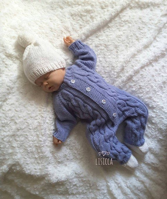 4f26f59fd1983 Knit baby romper. Hand knitted romper. Knitted baby clothes. Knitted baby  romper. Newborn coverall. knitted baby boy coming home outfit.