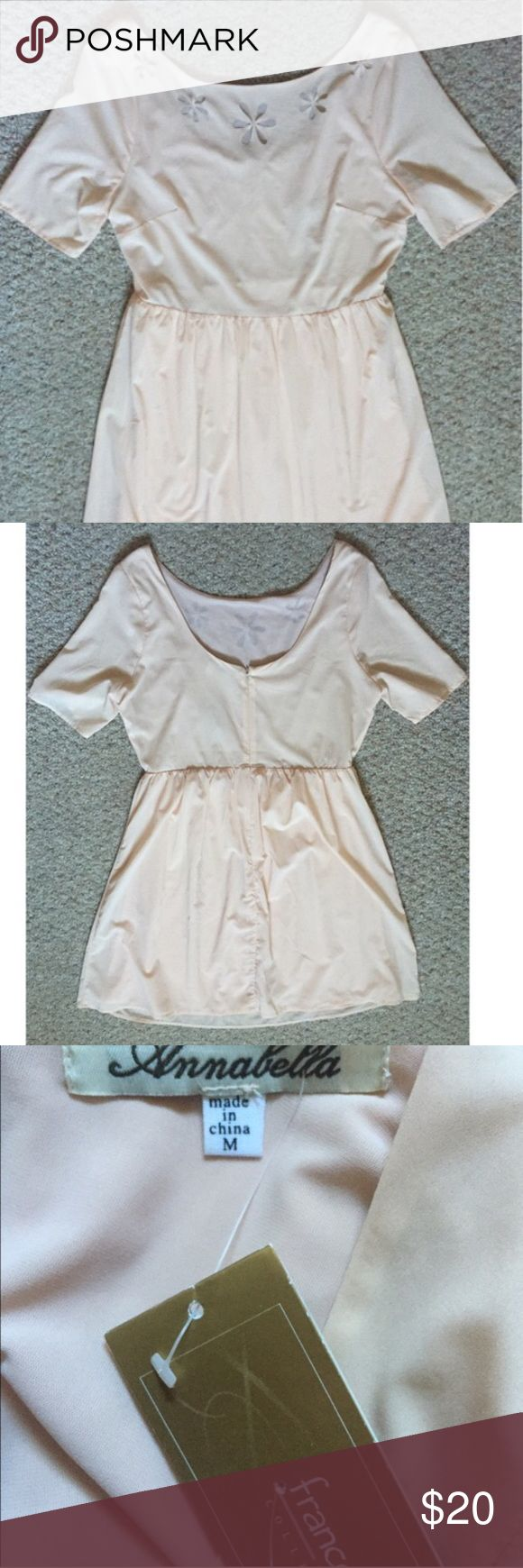 Francesca's Cream Mini Dress NWT Beautiful NWT Francesca's cream colored dress with petal cutouts that are sheer. Size medium. Zippered back  No trades or modeling 🚫 Smoke free but pet friendly home 🐶🐱 Please use offer button, no low balls! 💋 Francesca's Collections Dresses Mini