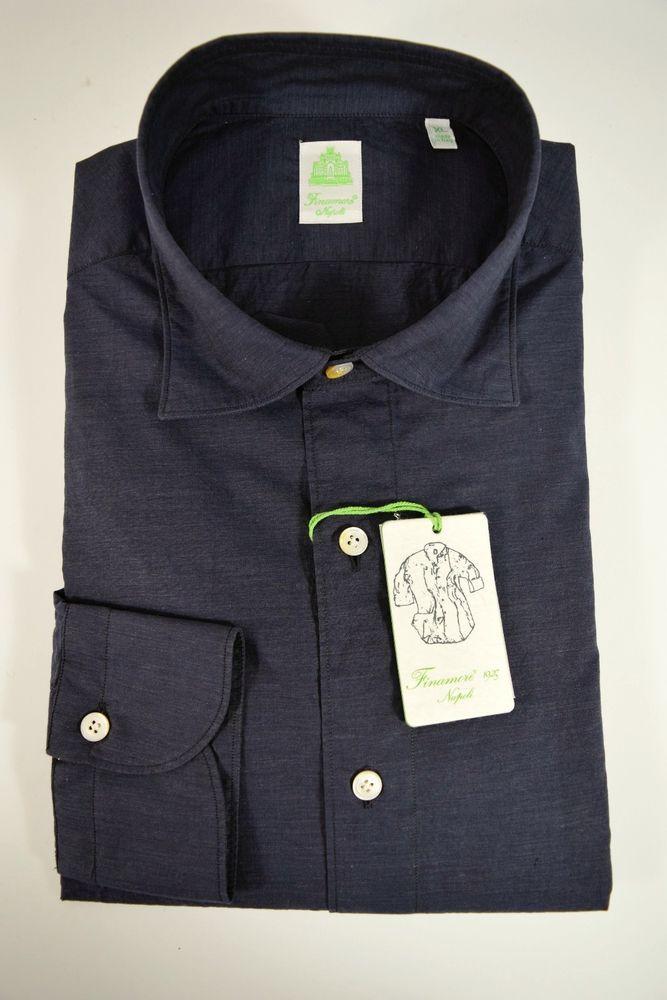FINAMORE camicia UOMO sartoriale casual 100% COTONE blu tg. L-XL-XXL