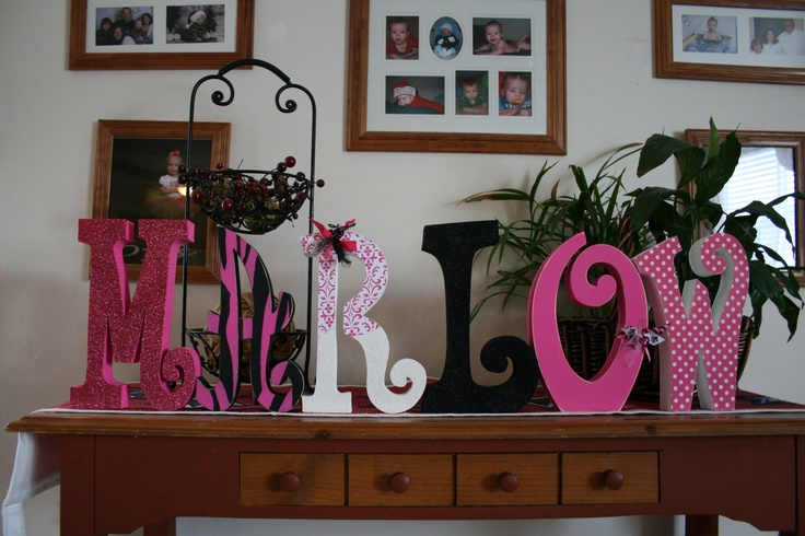 Zebra letters hot pink and black 6 wood letters capitol letters Custom letters for kids room teen gift sweet 16 personalized gift. $77.95, via Etsy.
