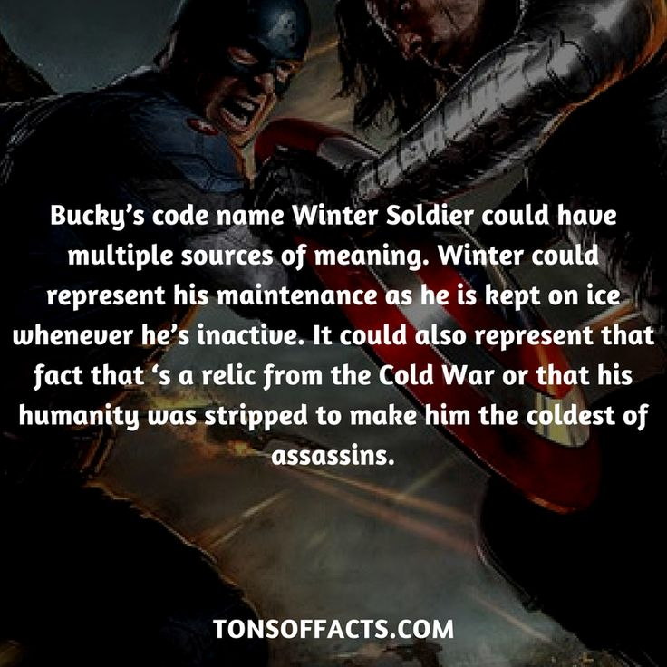 Bucky's code name Winter Soldier could have multiple sources of meaning. Winter could represent his maintenance as he is kept on ice whenever he's inactive. It could also represent that fact that 's a relic from the Cold War or that his humanity was stripped to make him the coldest of assassins. #wintersoldier #tvshow #theavengers #comics #marvelcomics #interesting #fact #facts #trivia #superheroes #memes #1 #movies #captainamerica #buckybarnes
