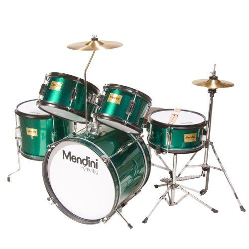 Mendini MJDS-5-GN Complete 16-Inch 5-Piece Green Junior Drum Set with Cymbals, Drumsticks and Adjustable Throne by Mendini. $161.57. Mendini by Cecilio 5-piece junior drum set is a fully functional drum set designed specifically for young drummers. It has all the same features as a full size drum set, only smaller. This set includes bass drum, floor tom, a pair of toms, snare drum, hi-hat, and crash cymbal. Young drummers will get the chance to experience as adult drummers do wit...Adjustable Thrones, Mendini Mjds 5 Gn, Music Instruments, Drums Sets, Drum Sets, Mjds 5 Gn Complete, Bass Drums, Junior Drums, Green Junior