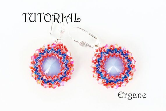 Very cute earrings with 12mm rivoli. Perfect to wear every day.   This tutorial is for beginner Beaders. The tutorial contains 13 fully illustrated (with graphs) steps from start to finish with complete explanation.   #Swarovski #beading #jewelry #tutorial #beadingtutorial #beadedearrings #earrings