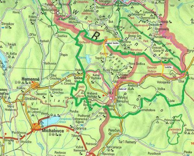 Map of Poloniny