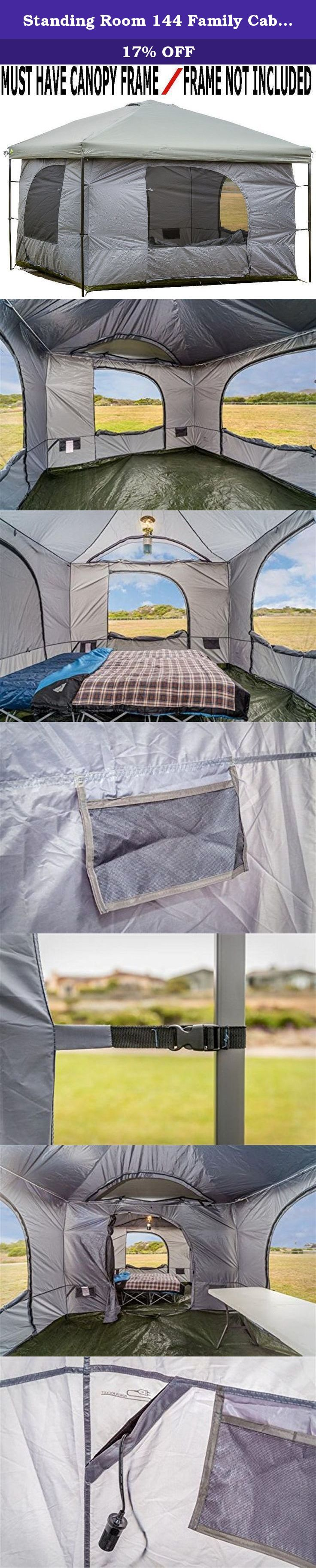 Standing Room 144 Family Cabin Camping Tent (XXL 12x12) With 8.5 feet of Head Room, 4 Big Screen Doors, Fast & Easy Set Up Cabin Tent, Family Tent, Large Tent, Canopy Frame Not Included!. MUST HAVE CANOPY FRAME! FRAME NOT INCLUDED The Standing Room 144 Hanging Family Cabin Camping Tent (XXL 12x12) is the Best Family Cabin Camping Tent and is an excellent shelter with vertical walls that anyone can stand straight up in. If you are tall and want a tent with headroom, this tent has 8.5 feet…