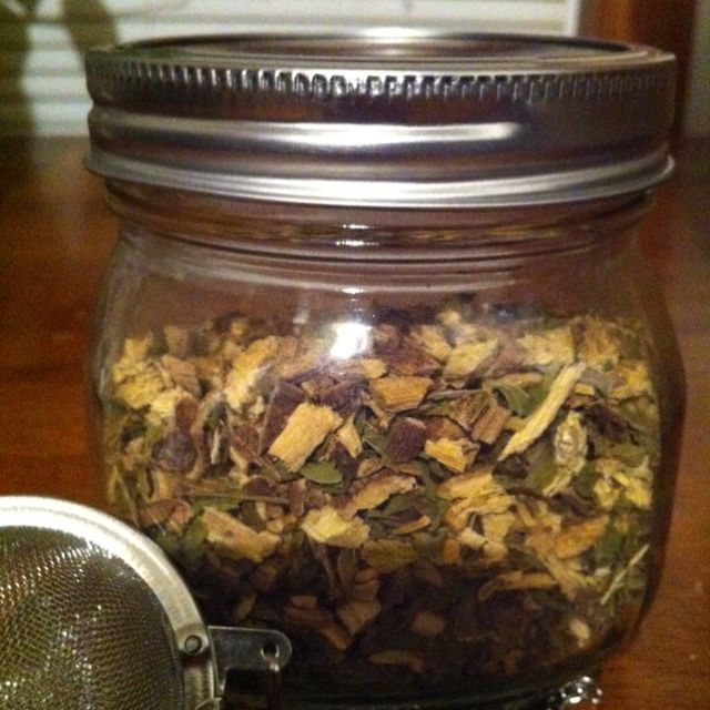 """I had this made and it turned out JUST LIKE the """"Aveda"""" comfort tea: so yummy & naturally sweet!  Ingredients: 1/2 cup + 2 Tbs Licorice Root, 1/2 cup Peppermint Leaves, 1 Tbs Fennel Seeds, 1 Tbs Sweet Basil Leaves. Mix well & add a spoonful to a mesh tea ball.  Let steep in hot water for a few minutes.  No need to sweeten, just sip & enjoy!"""