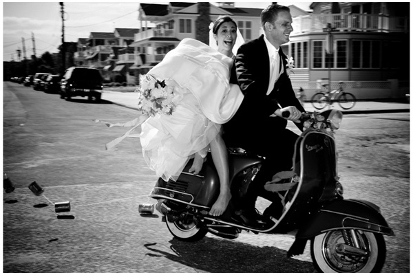 i want to ride off in a vespa on my wedding day!