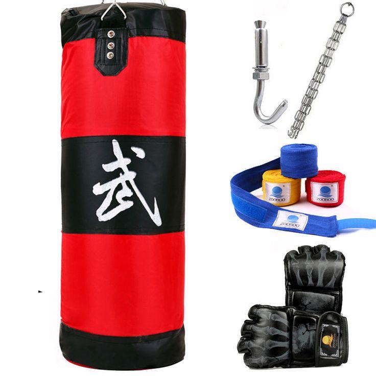 Boxing Bag Training Punching MMA Heavy With Gloves Speed Workout Kit Sandbag Art #BoxingBag