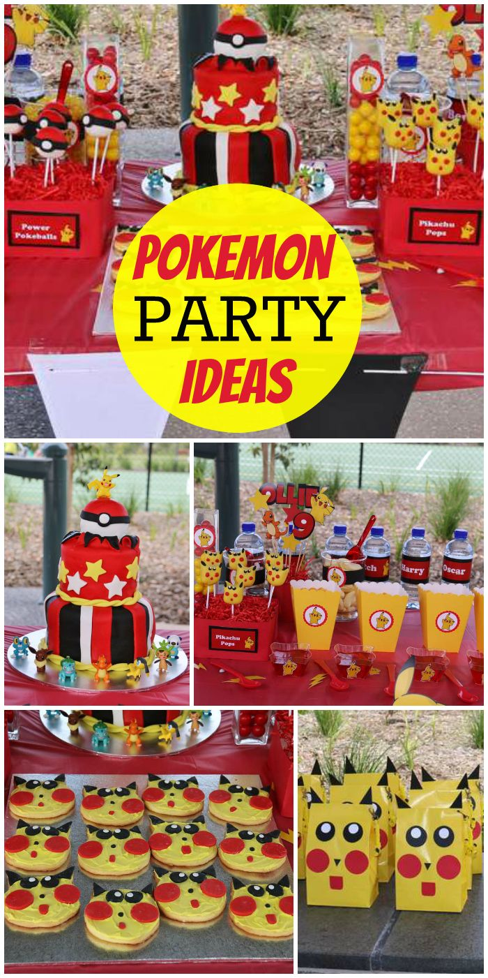 A Pokemon boy birthday party with lots of games and Pokemon goodies and gumball machine favors! See more party planning ideas at CatchMyParty.com!