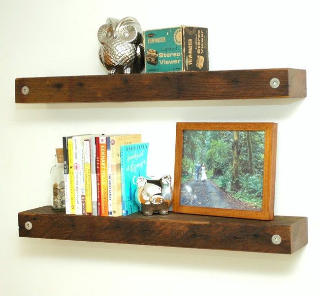 - Floating Reclaimed Wood Shelves On, Wood Floating Shelves And Closet