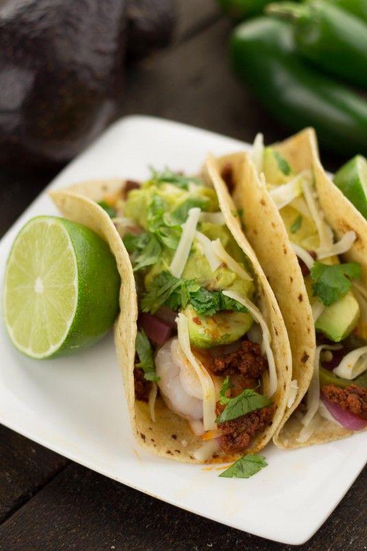 Chorizo and Grilled Shrimp Tacos