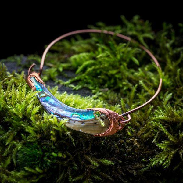 Overige - koperen armband met abalone schelp  - electroformed copper jewelry