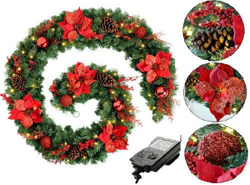 "Red LED Lighted Christmas Garland Extra Thick 9"" Artificial Decor Berries Cones #SmartDealsMarket"
