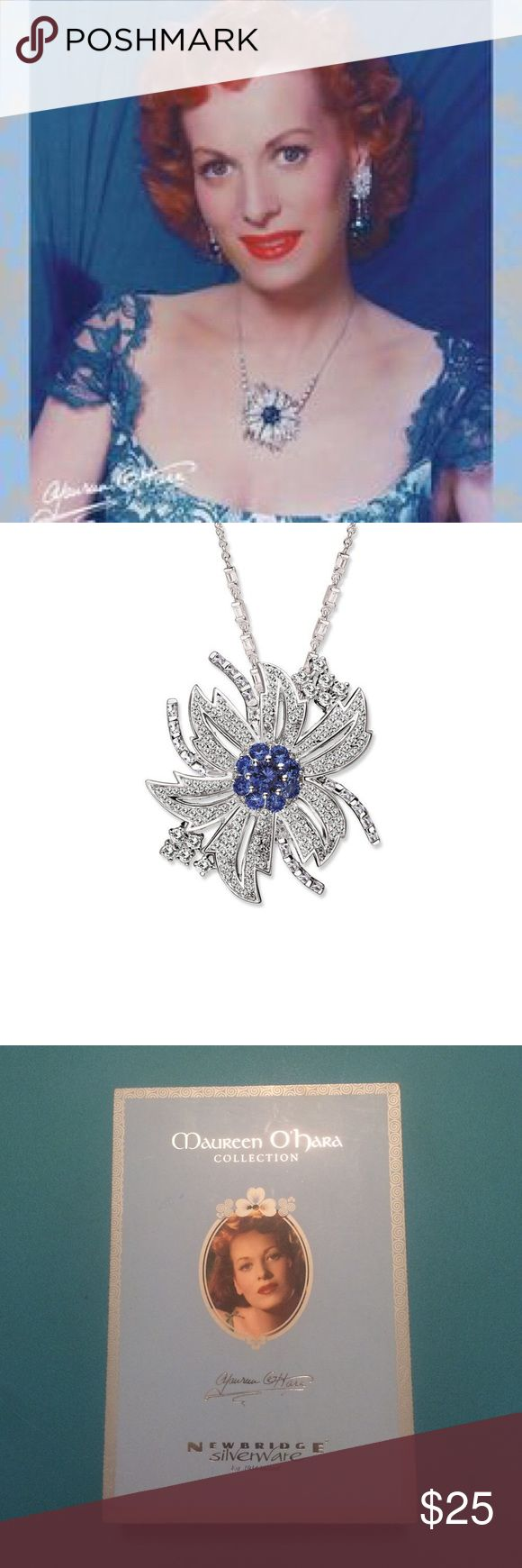 Sapphire Necklace By Maureen O'Hara Statement necklace originally designed by Maureen O'Hara for Newbridge Silverware. Cluster of sapphires surrounded by cubic zirconia presented in original box. Made in Ireland. Newbridge Silverware Jewelry Necklaces