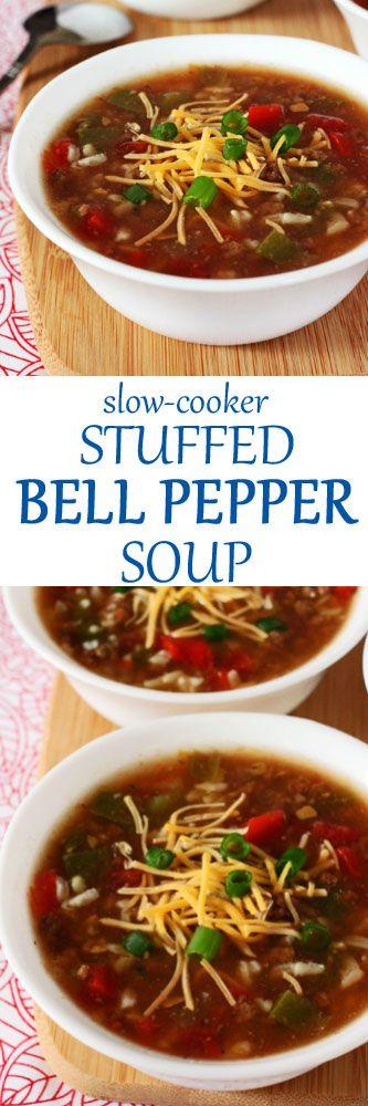 Slow-Cooker Stuffed Bell Pepper Soup #soup #crockpot