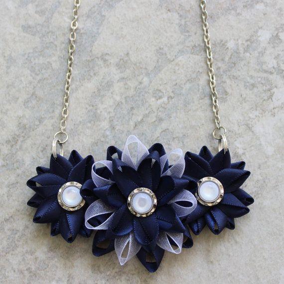 Navy Necklace, Navy Blue Necklace, Navy and White Necklace, White and Navy Blue Wedding, Dark Blue Jewelry, Navy Jewelry, Cluster Necklace