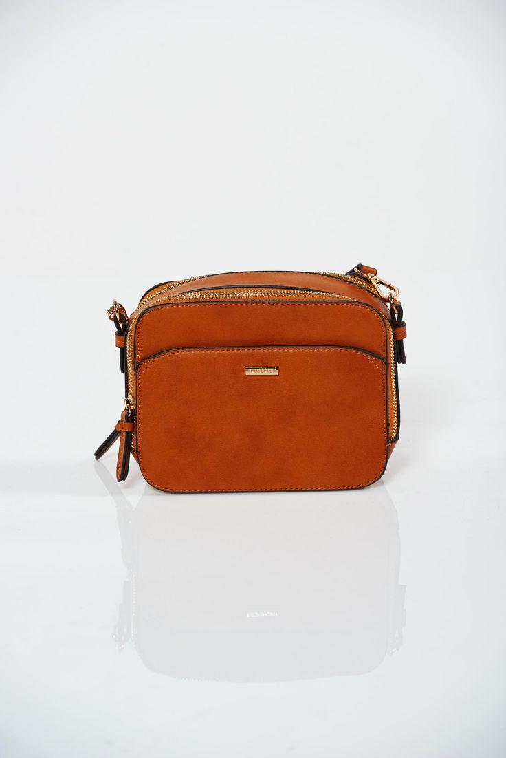 Comanda online, Geanta dama Top Secret portocalie casual cu accesoriu metalic. Articole masurate, calitate garantata!