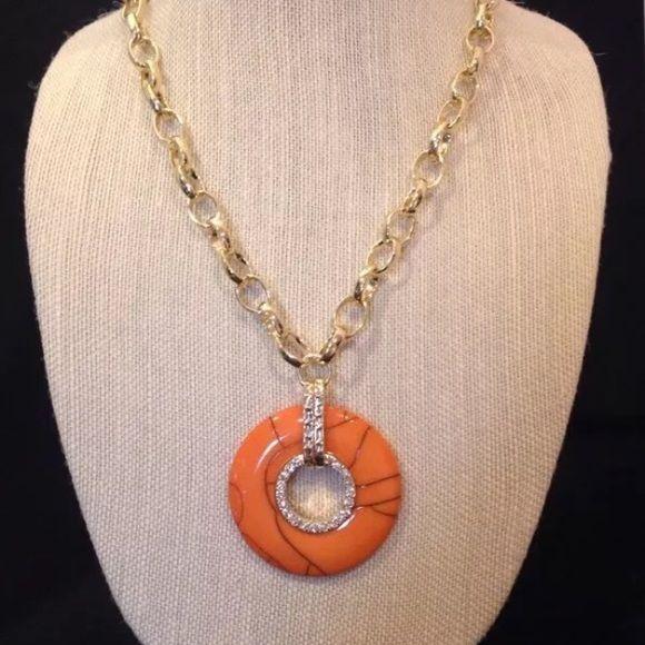 Susan Graver Pendant Necklace Coral colored marbleized pendant necklace Susan Graver Jewelry Necklaces