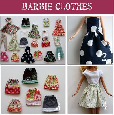 Make your own Barbie clothes! Inexpensive way to dress those naked garage sale barbies and use up used fabric scraps.