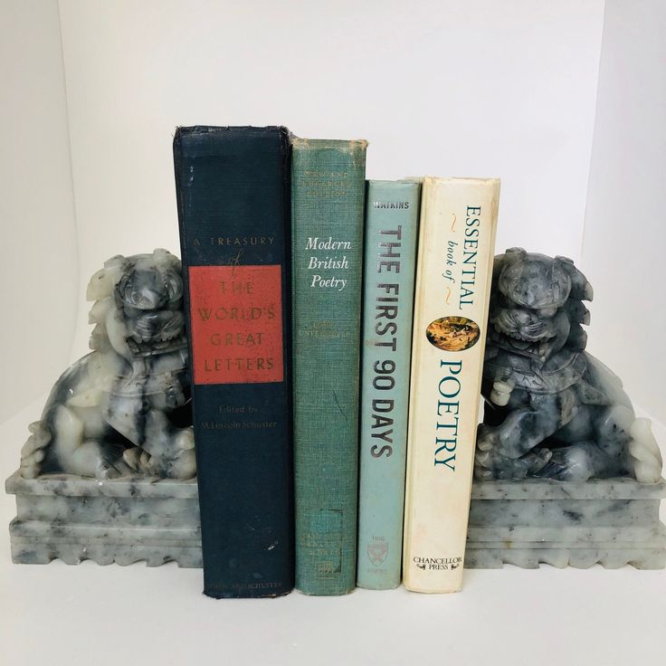 Vintage Bookends Oriental Foo Dogs Temple Lion Bookends Marble Sculptures Oriental Gifts In 2020