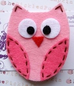 The Pickled Pumpkin Pink Owl Felt Hairclip - Photo - Coolspotters