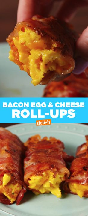 Bacon Egg & Cheese Roll-Ups are the ultimate low-carb breakfast. Get the recipe from Delish.com.