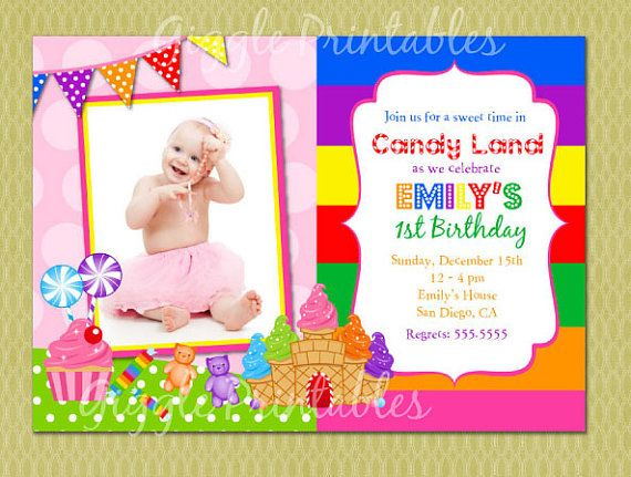 92 best candy land birthday party images on pinterest | candy land, Birthday invitations