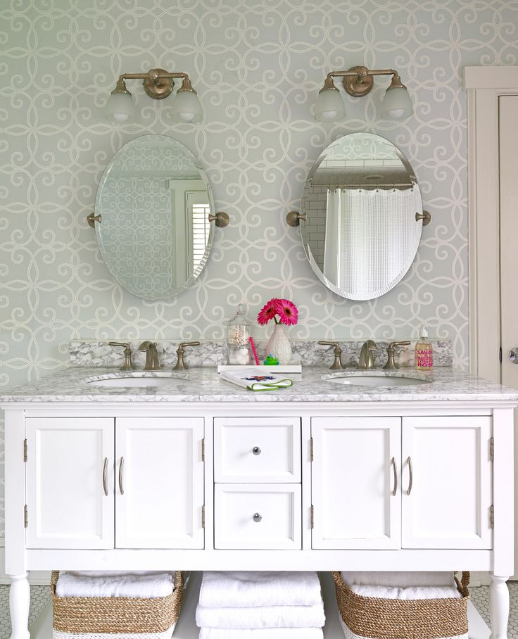 Lovely Childrenu0027s Bathroom With White Double Vanity And Light Blue Wallpaper By  K+K Interior Design Amazing Ideas